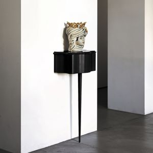 consolle in stile / in legno dipinto / in vetro / con supporto in legno verniciato