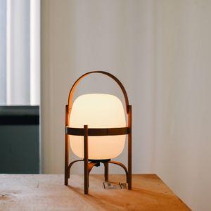 lampada portatile / design originale / in vetro opalescente / in ciliegio