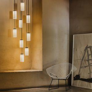 lampada a sospensione / moderna / in ottone lucidato / in vetro opalescente