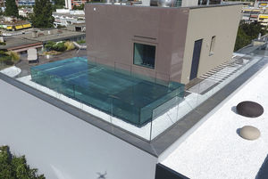 piscina seminterrata / in vetro / in acciaio inox / per hotel