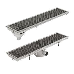 canaletta in acciaio inox / con griglie / con pendenza / per stanza da bagno