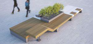 panca pubblica / design originale / in legno / in acciaio