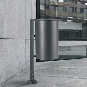 pattumiera pubblica / da incasso / in acciaio inox / con portacenere integrato