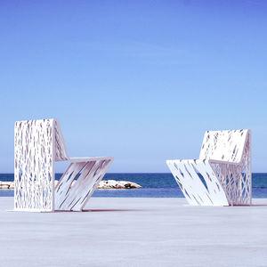 sedia moderna / in acciaio galvanizzato / in acciaio COR-TEN® / da esterno