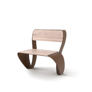 sedia moderna / in legno / in acciaio galvanizzato / in acciaio COR-TEN®
