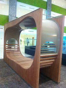 panca pubblica / design originale / in legno esotico / in acciaio galvanizzato