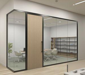 parete amovibile / roto-traslante / in vetro / da ufficio