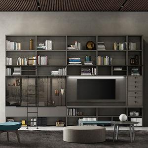 parete attrezzata TV moderno / in legno laccato / in quercia / in vetro