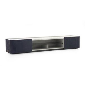 mobile porta TV moderno / lowboard / impiallacciato in legno / in pelle