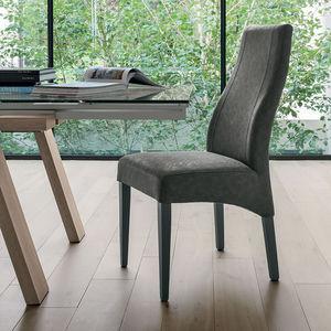 sedia vintage / imbottita / in legno / grigia