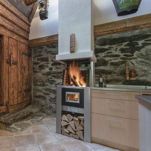 camino a legna / moderno / con focolare aperto / da parete