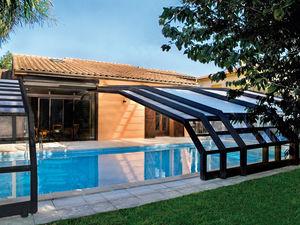 copertura per piscina a parete / scorrevole / in legno / ad azionamento manuale
