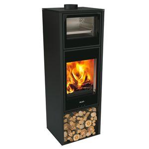 stufa a legna / in metallo / moderna / con forno