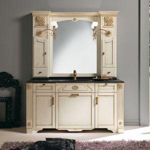 mobile lavabo doppio / da appoggio / in legno / in stile