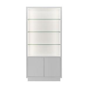 vetrina moderna / in vetro / in legno / illuminata