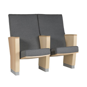 poltrona per auditorium moderna / in tessuto / in legno massiccio / in pelle