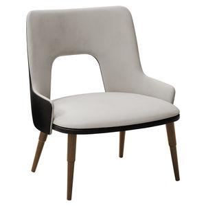 poltrona moderna / in tessuto / in legno / bianca