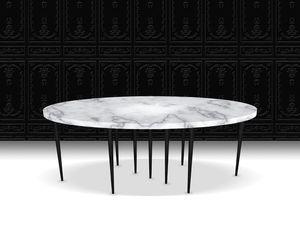 tavolo moderno / in marmo / con supporto in legno verniciato / ovale