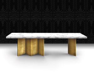 tavolo moderno / in marmo / con supporto in legno verniciato / rettangolare