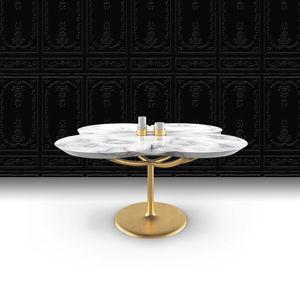 tavolo moderno / in marmo / con supporto in acciaio verniciato / contract