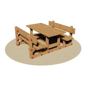 set tavolo e panca in stile rustico / in legno / per bambini / da interno