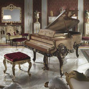 sgabello design nuovo barocco / in legno massiccio / in tessuto / per hotel
