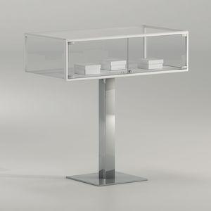 vetrina moderna / in vetro / in metallo cromato / contract