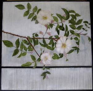 quadro pittura a olio / misto / floreale / per hotel