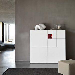 credenza alta / moderna / in legno laccato / bianca