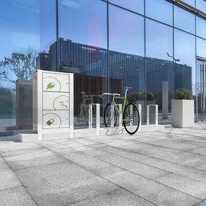 poggia-biciclette a pavimento / in pietra ricostituita / in acciaio / per spazio pubblico