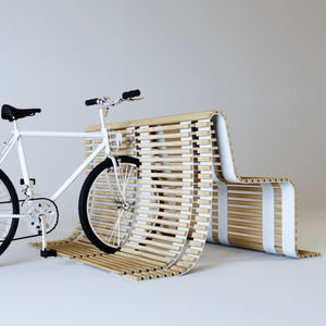 panca pubblica / moderna / in legno / con portabici integrato