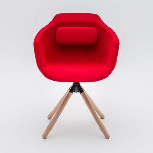 sedia visitatore moderna / con braccioli / imbottita / con base a stella