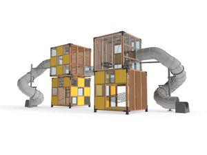 struttura ludica per parco giochi / per edifici pubblici / in legno / modulare