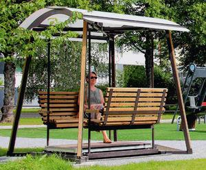panca pubblica / design scandinavo / in legno / con schienale