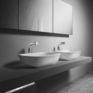 lavabo da appoggio / rettangolare / in resina / in pietra calcarea