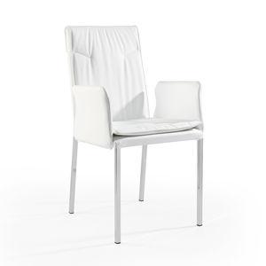 sedia moderna / con braccioli / imbottita / in tessuto