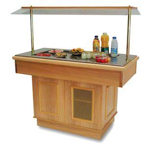 buffet refrigerato centralizzato / con ruota / per ristorante