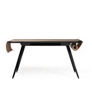 tavolo da lavoro moderno / in MDF / in linoleum / con supporto in metallo
