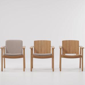 sedia da pranzo moderna / con cuscino rimovibile / in teak / da esterno