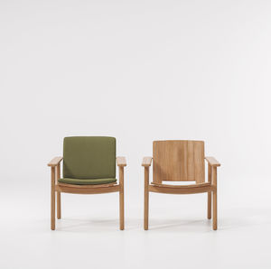 poltrona moderna / in teak / club / con cuscino rimovibile