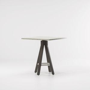 tavolo alto moderno / in teak / in alluminio / tondo