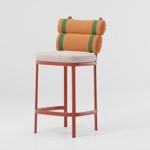 sedia alta moderna / imbottita / con poggiapiedi / in tessuto