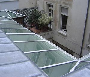 pannello in vetro laminato / per tetto / inciso all'acido / autopulente