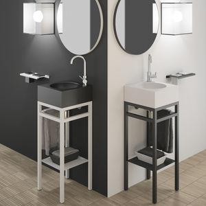 mobile lavabo da appoggio / in metallo / in VetroFreddo® / moderno