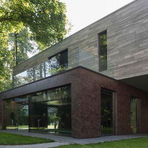 rivestimento di facciata in pannelli / in ceramica / testurizzato / aspetto metallo