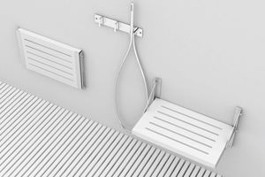 sedile per doccia ribaltabile / da parete / in acciaio inox / in legno