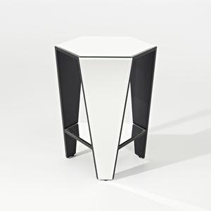 comodino moderno / in MDF laccato / in vetro / esagonale