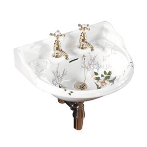 lavandino sospeso / semitondo / in porcellana