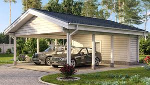 tettoia per posto-auto in legno massiccio / prefabbricata