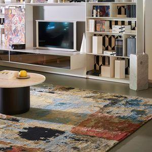 tappeto moderno / a motivi / in lana del Tibet / rettangolare